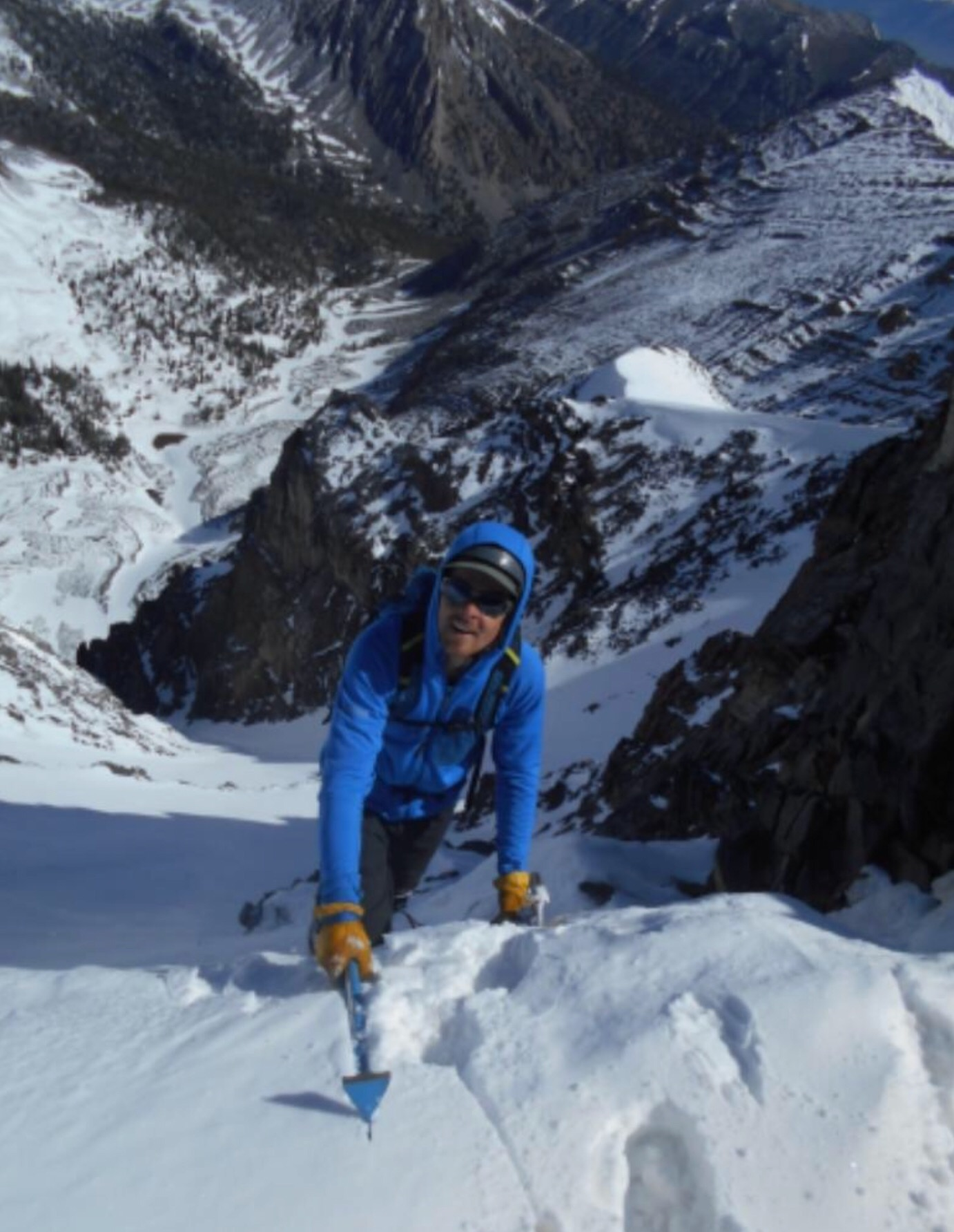 Taylor topping out on the North Couloir. Pat McGrane Photo