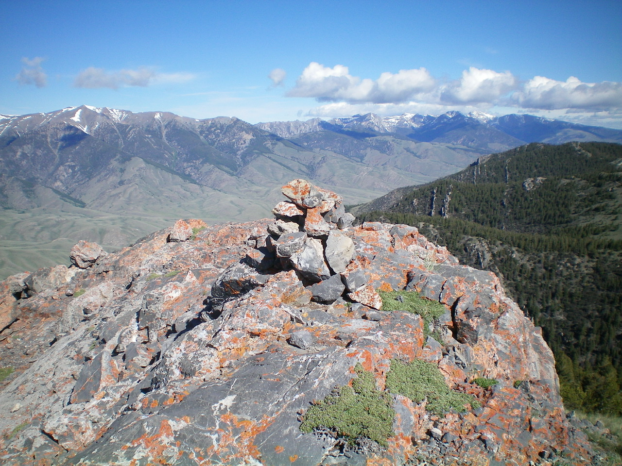 The newly-built summit cairn atop Peak 9004. Livingston Douglas Photo