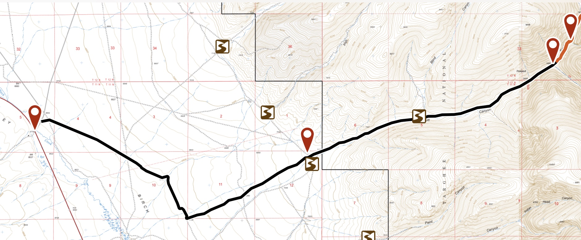 The access information in the book is still good. However, the route shown on this map was signed by the Forest Service amd is a more direct route. This route is 9.0 miles long and gains over a thousand feet.