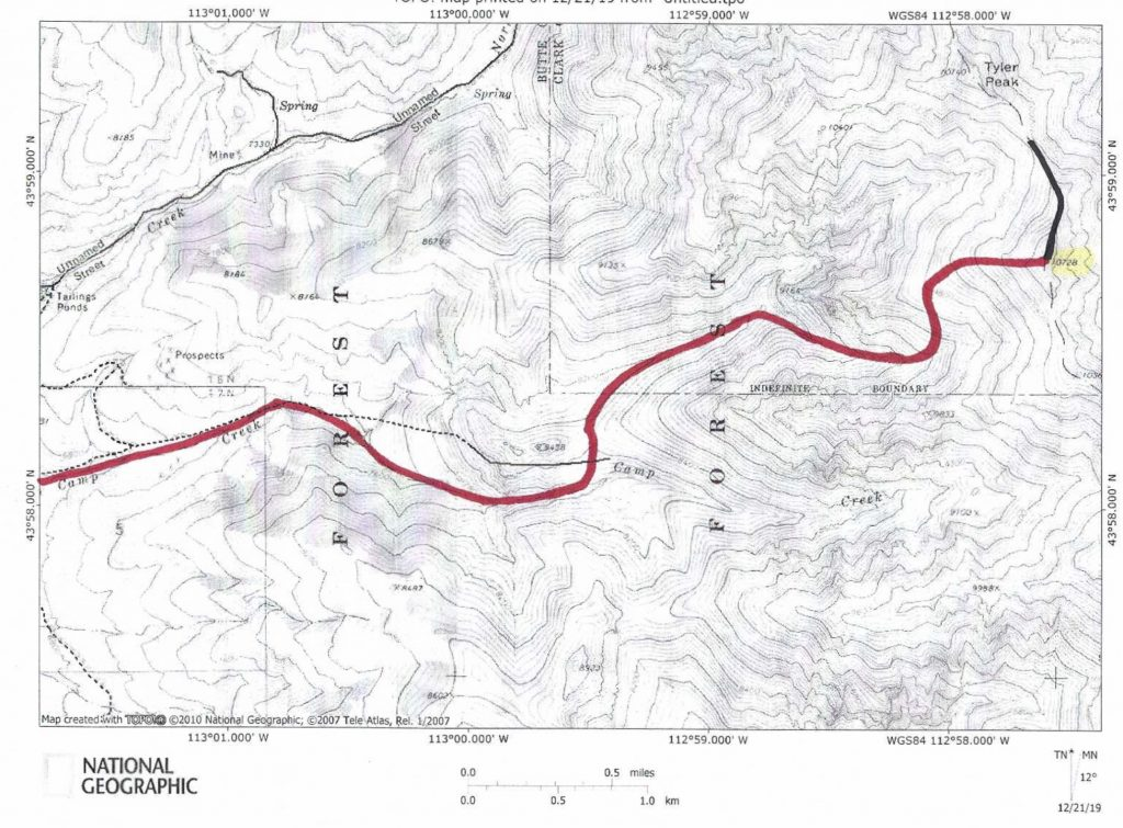 The West Gully/West Ridge Route (red) and the North Ridge Route (black).