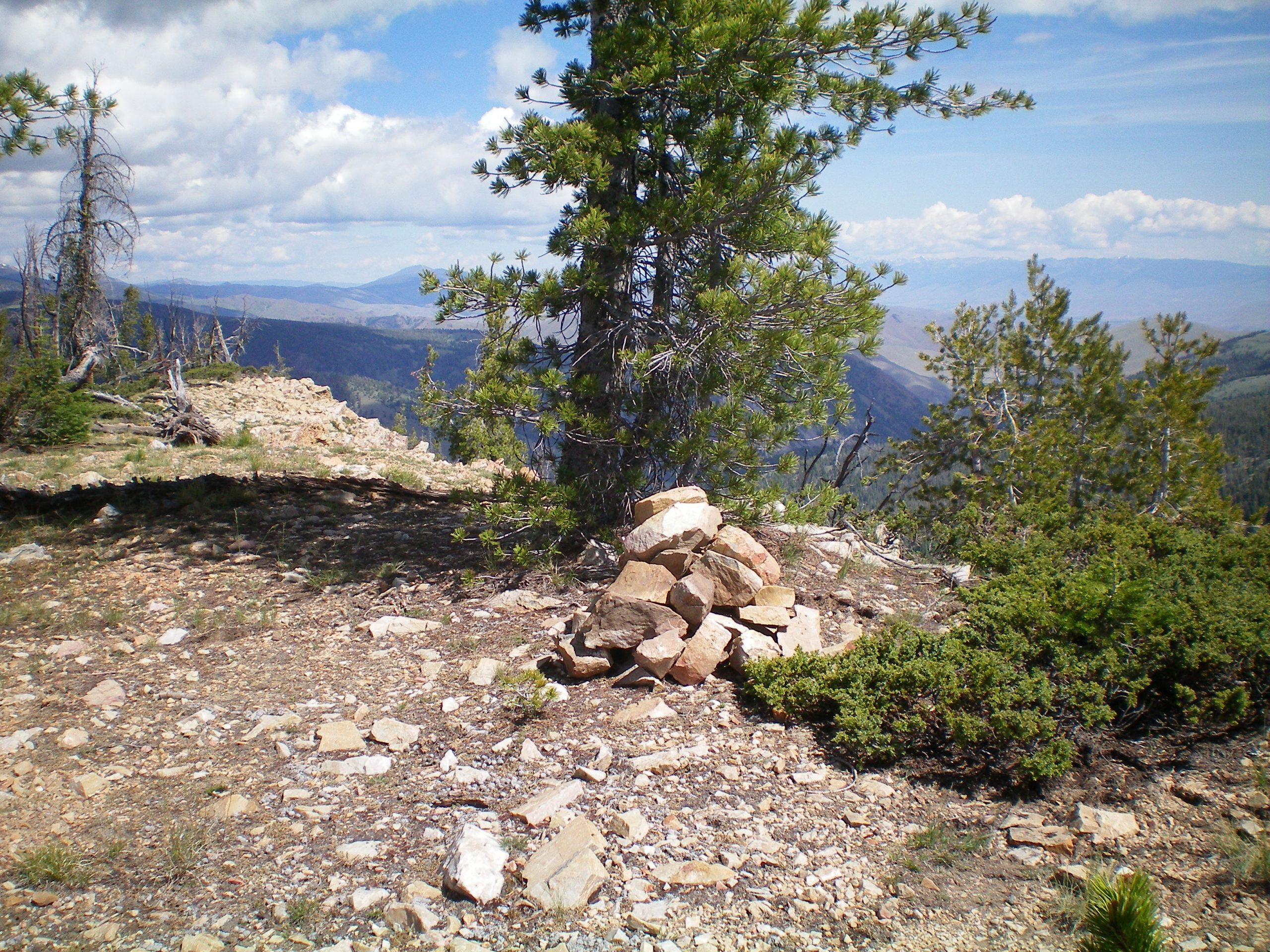 The newly rebuilt summit cairn atop Peak 9115. Livingston Douglas Photo