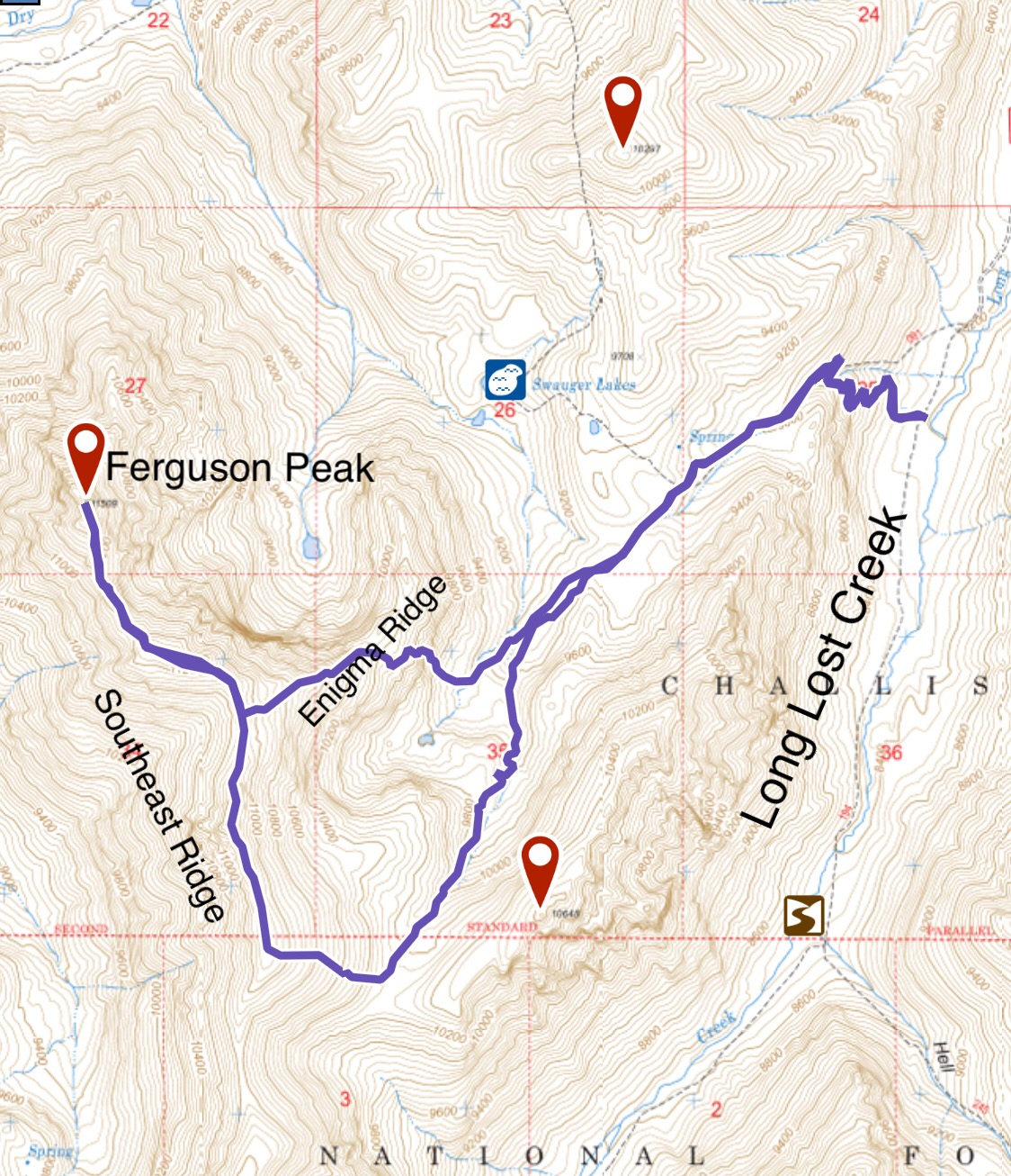 My GPS track for Ferguson Peak. The Enigma Ridge will ne discussed below.