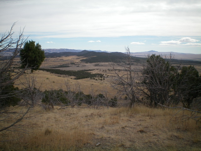 The juniper-covered Stone Hills (center, mid-ground) as viewed from the summit of Peak 5610. Livingston Douglas Photo
