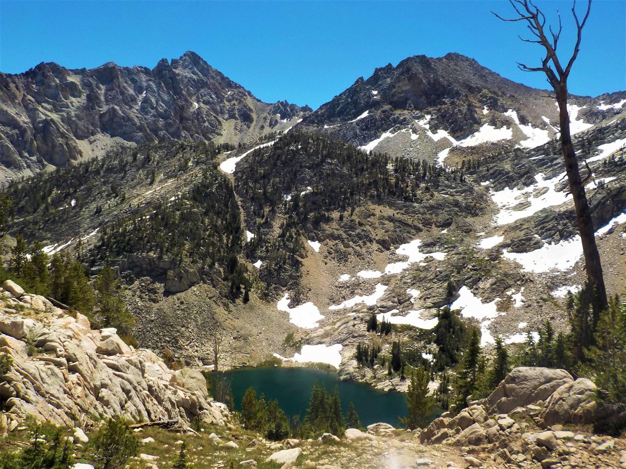 Peak 11202 (aka Cardiac Peak) and the poorly named Peak 10718 (aka Pats Peak) above Island Lake. Pat McGrane Photo
