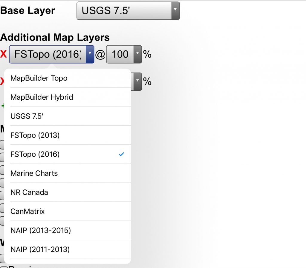 The base layer is a USGS quad but by using the drop down box you can select other maps including Forest Service Topos and satellite photos.