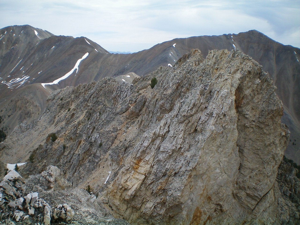 The rugged upper section of the North Ridge as viewed from the North Summit. Livingston Douglas Photo