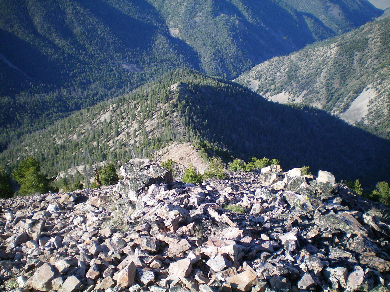 Looking down the South Ridge from the summit of Peak 9785. Livingston Douglas Photo