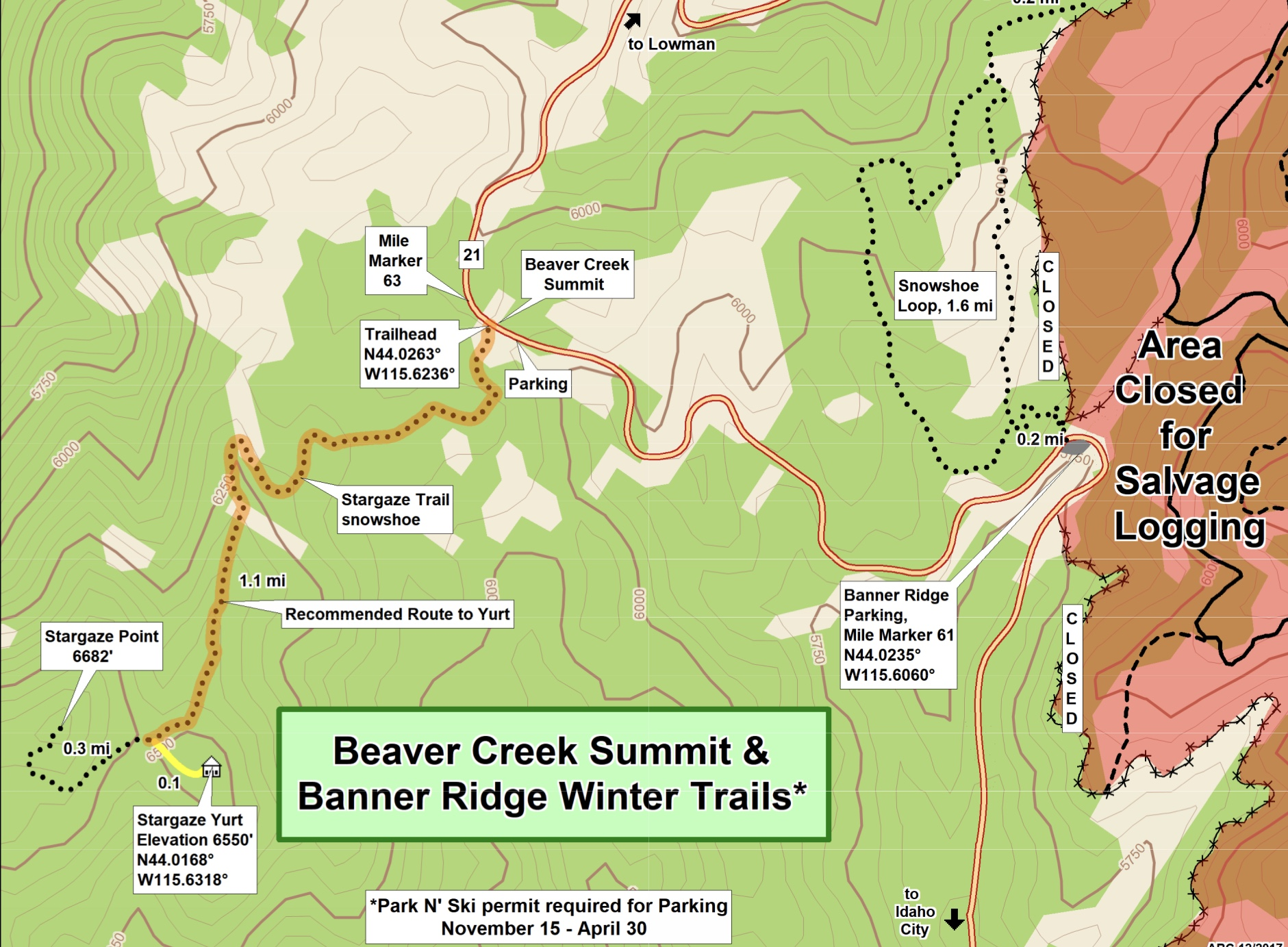 Idaho State Parks and Recreation map.