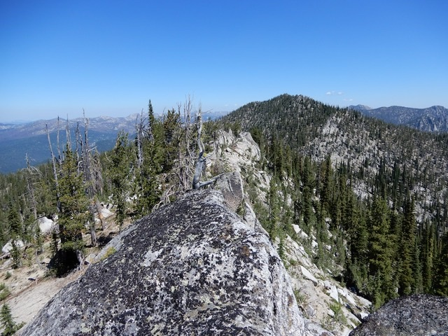The view from the summit toward the pass showing the false summits. John Platt Photo