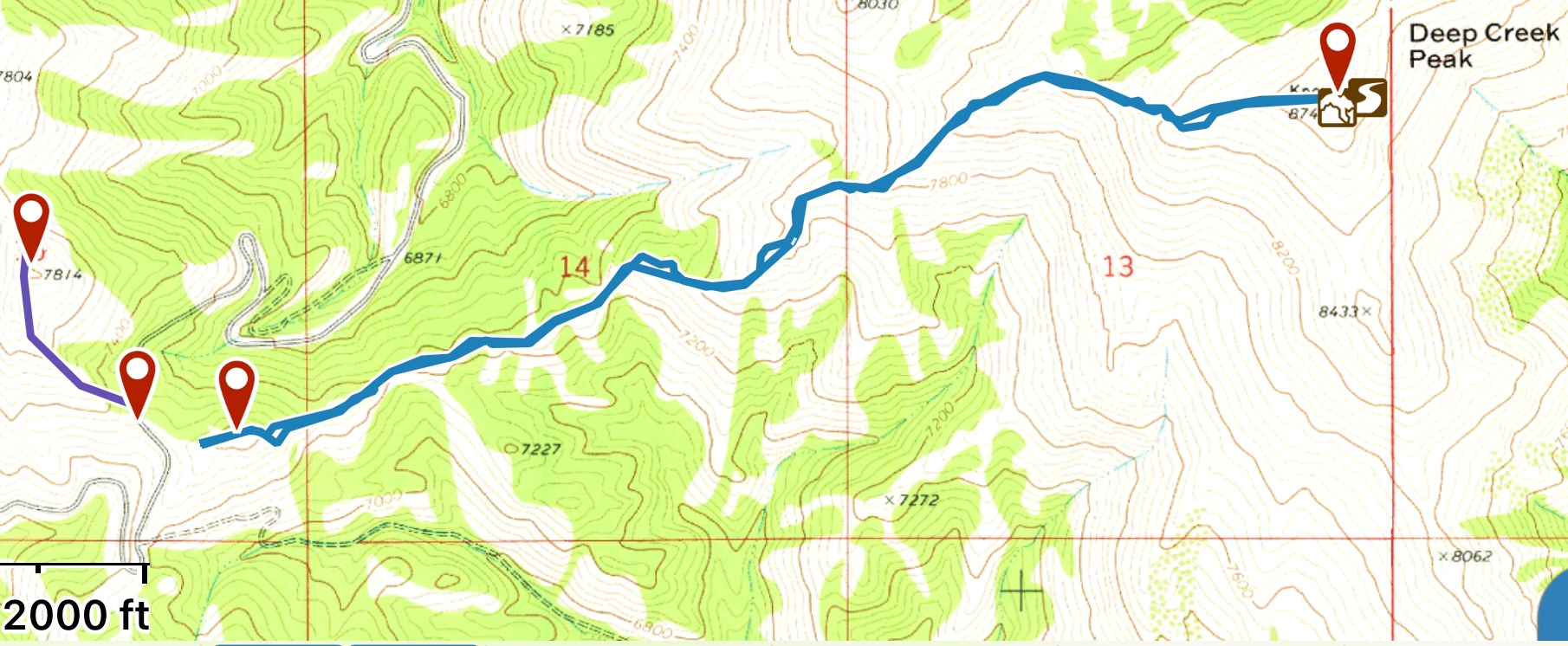 My GPS track. Unlike Ken Jones, I drove part way up the 4WD road before starting the climb.