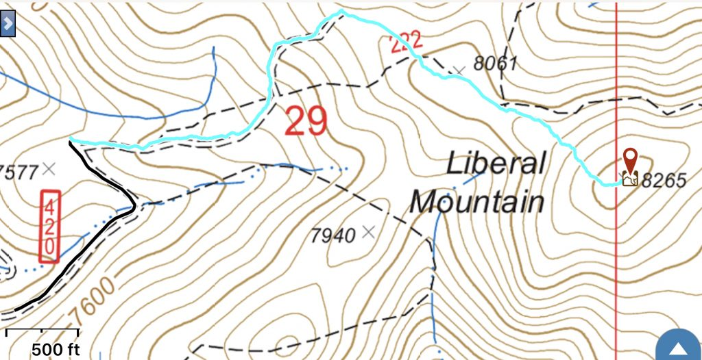 My GPS track from the recommended parking spot. The summit is a 1.0 miles and 552 feet climb from this point.