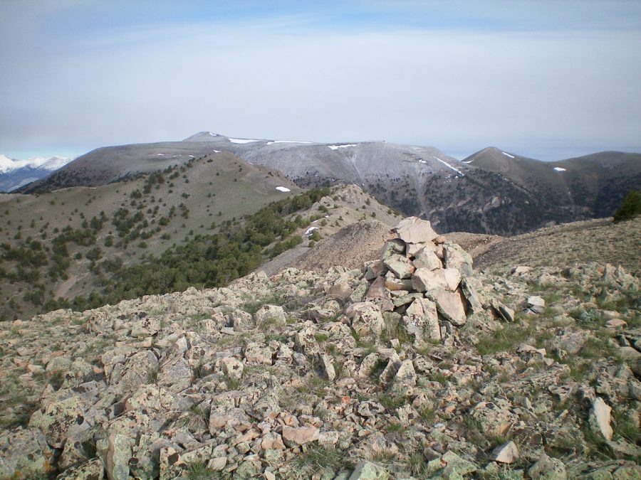 Peak 9877 (bare hump, left of center) with Copper Mountain in the background, as viewed from the summit of Gallagher Peak. Livingston Douglas Photo
