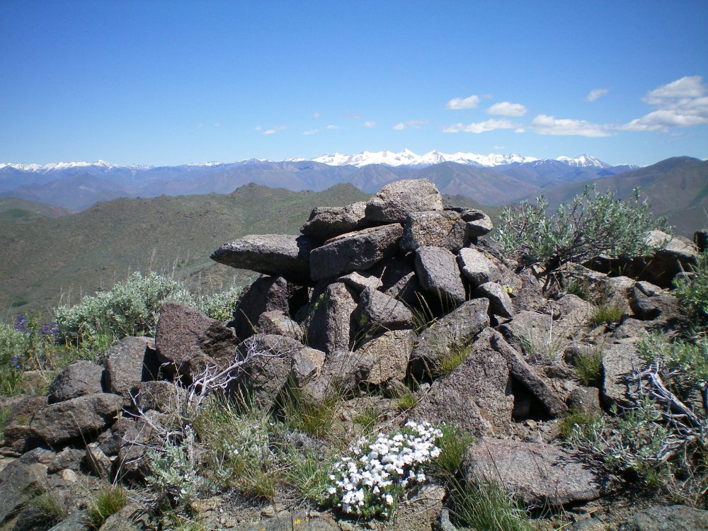 The summit cairn atop Peak 7174. Livingston Douglas Photo