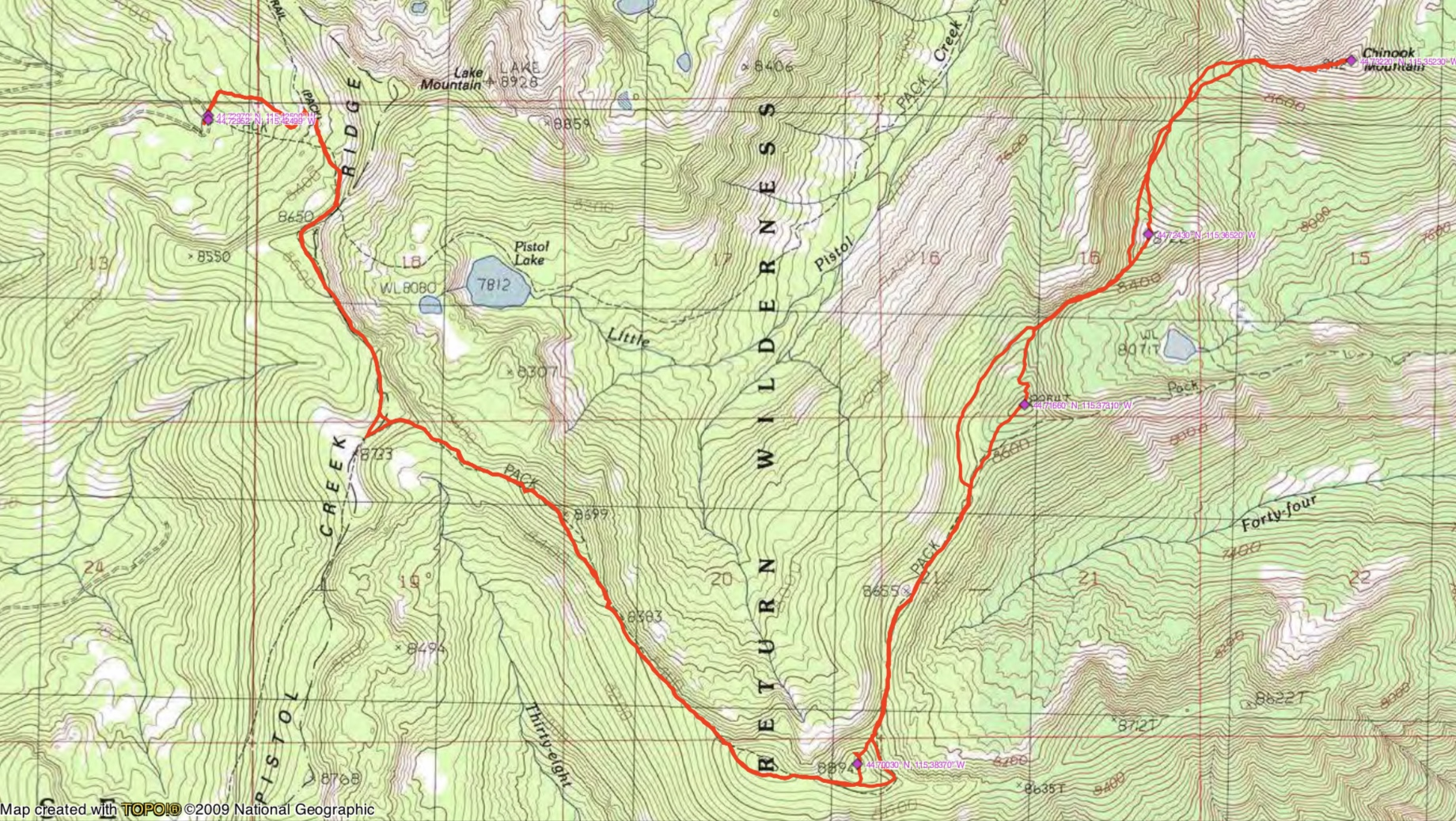 John Platt's GPS track of the traverse to Chinook Mountain.