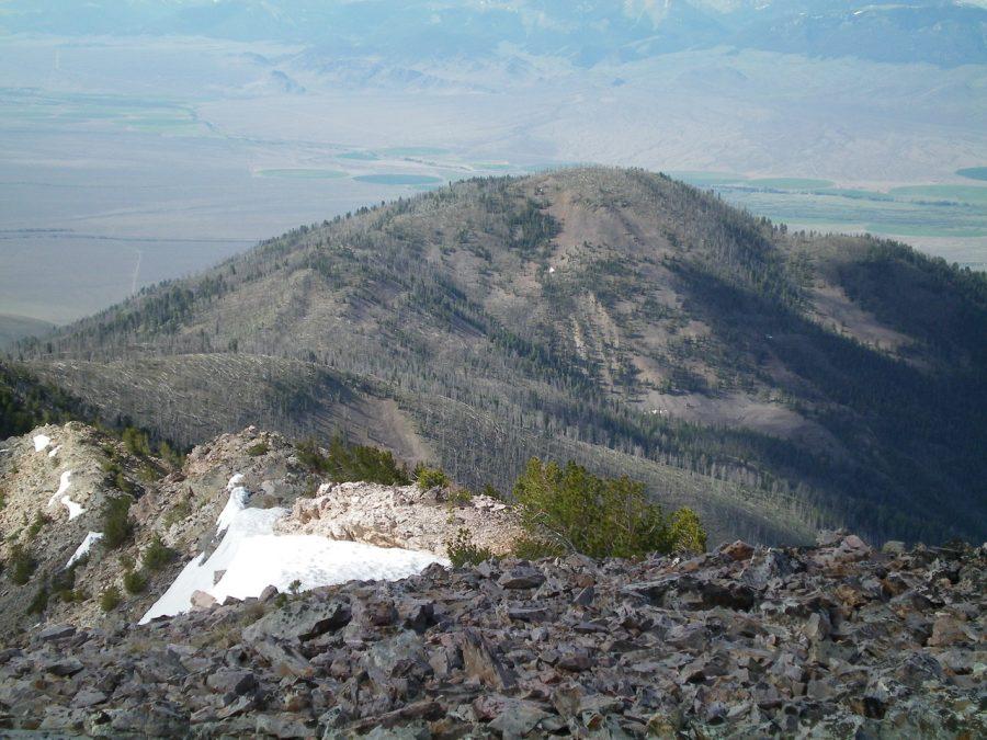 Peak 9381 as viewed from the summit of Peak 10349. Livingston Douglas Photo