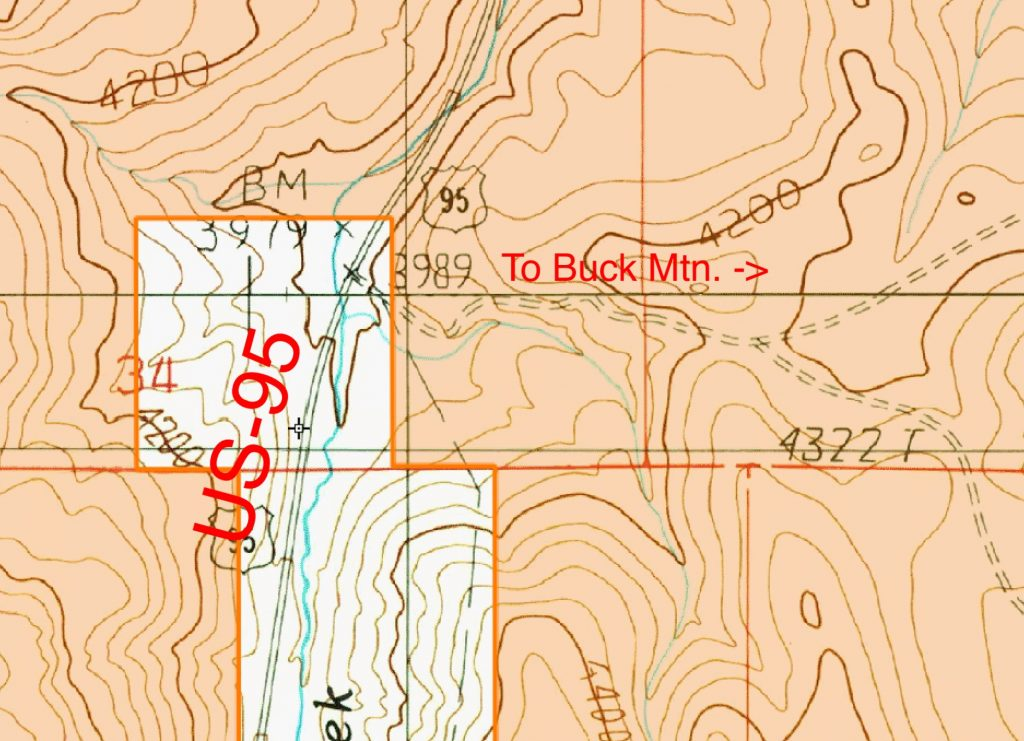 "As you can see from this map there is potentially a sliver of private land between the highway right-of-way and the BLM land. The land owner has had an entrance arch on the fence line for many years but never added a sign stating ""Private Road"" until recently."