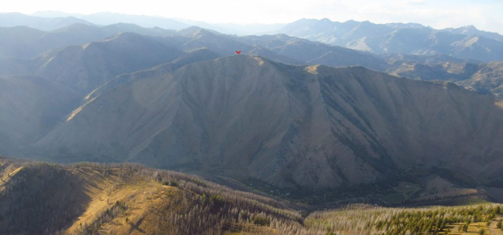 """Sunset view """"Big Mama"""" from above the summit of Baldy (paragliding photo). Derek Percoski Photo"""