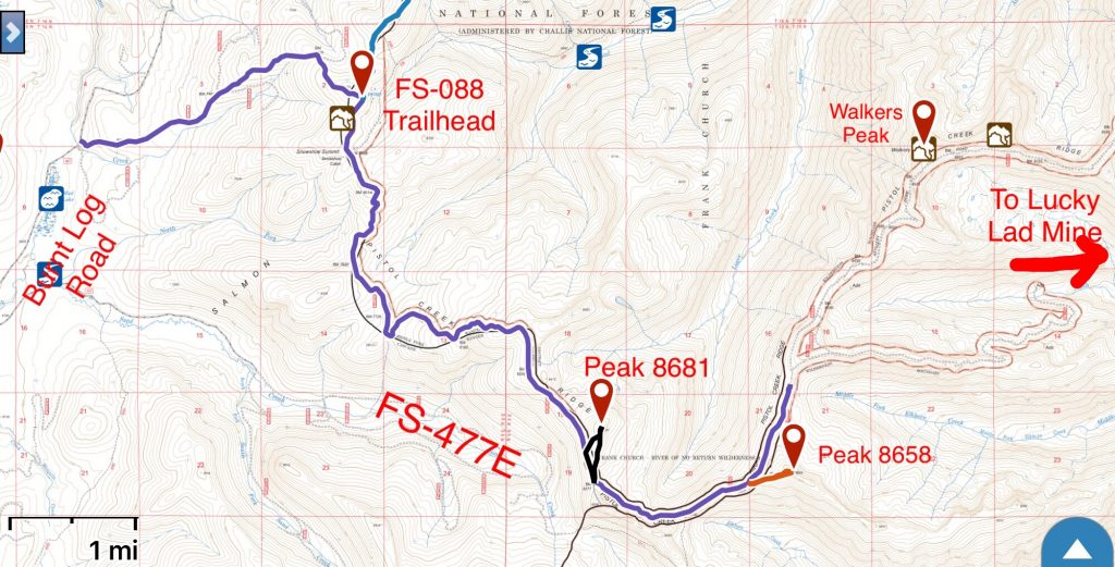 This map covers my GPS track for the first 10.5 miles. During this stretch the road gained 2,307 feet and lost 971 feet.