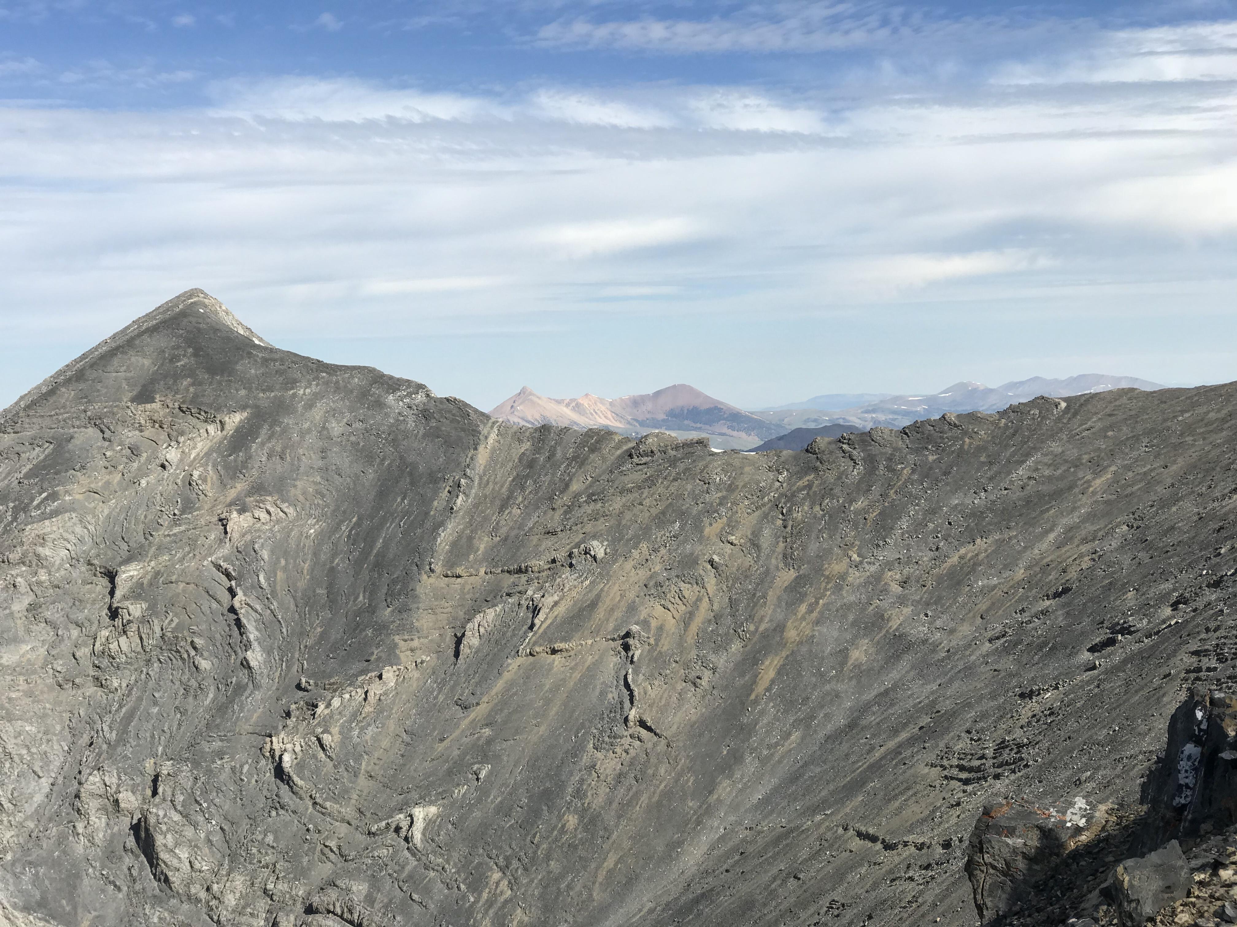 The Huhs Horn/Scott Peak Ridge viewed from the Tower Rib.