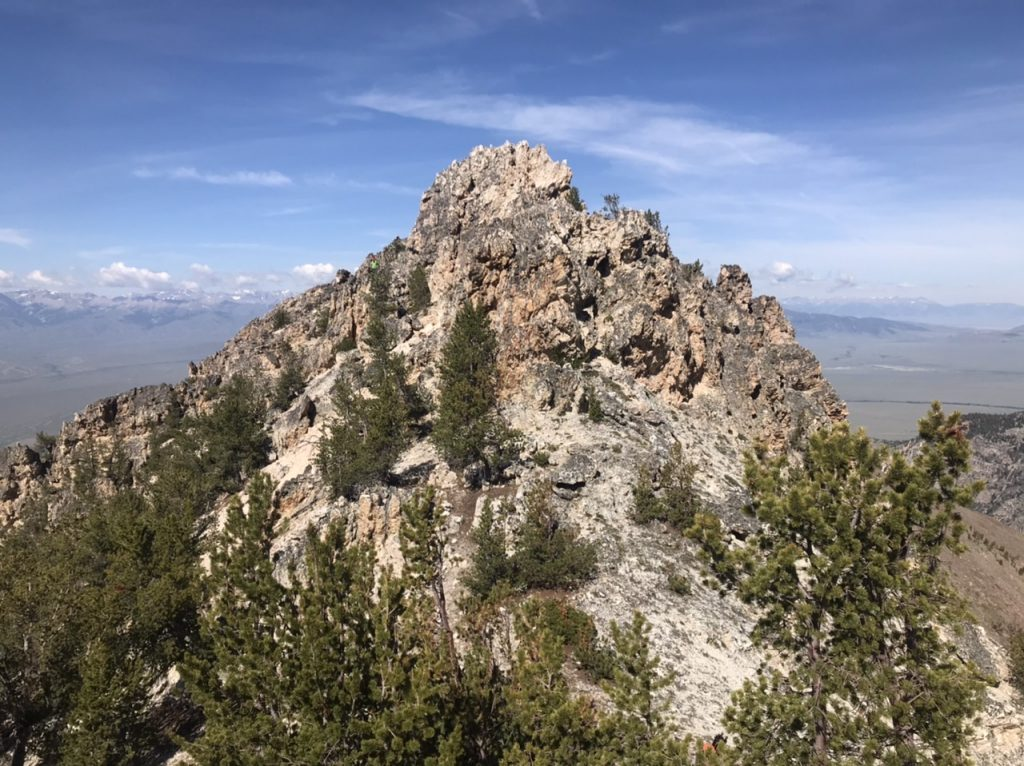 This tower, viewed from the east, blocks the west ridge at roughly 10,300 feet of elevation. It is most easily bypassed on its south side.
