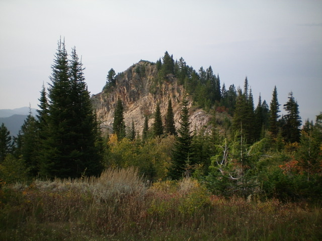 Prospect Peak as viewed from the north. It is a rugged outcrop with a combination of pines, aspens, rock, and brush. Livingston Douglas Photo