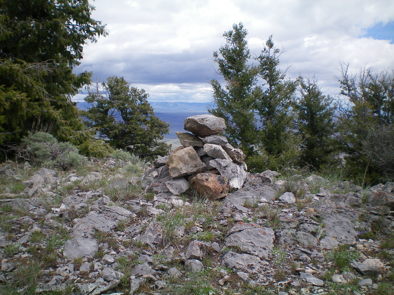 The summit cairn atop Peak 8365. Livingston Douglas Photo