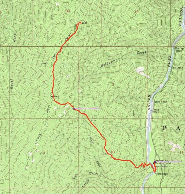 John's GPS track. His route covered 7.5 miles with 3,528 feet of elevation gain round trip.