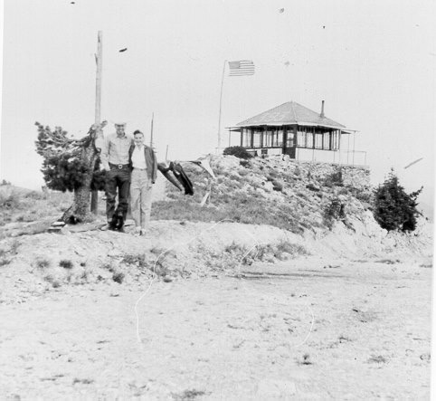 An undated photo from a time when the fire lookout was still in use. USFS Photo.