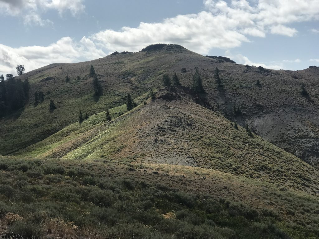 The summit viewed from the northwest ridge.