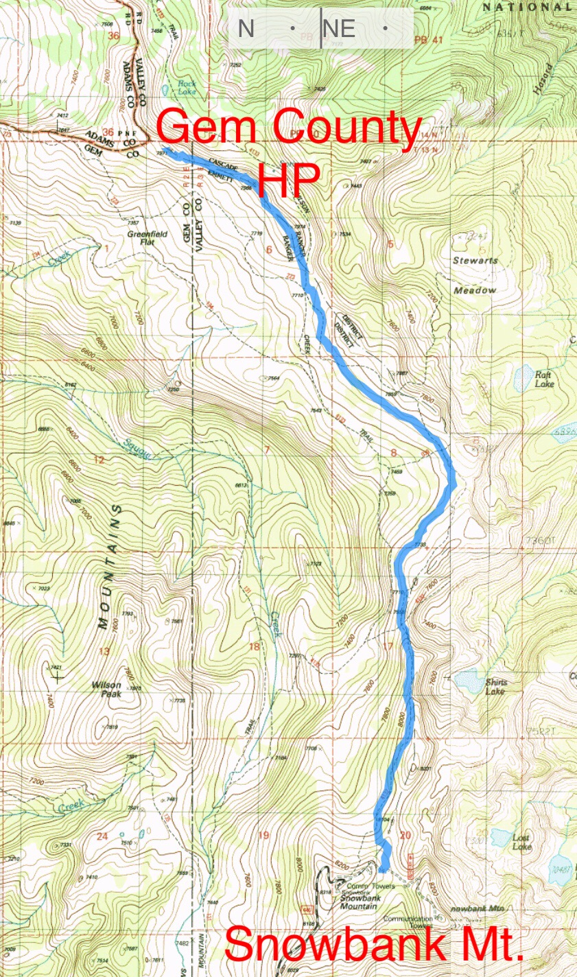 My GPS track using the alternative route description. The route to the summit covered 4.8 miles with 506 feet of gain 727 feet of loss. Of. Course on the return trip you will have 727 feet of gain to get back to your vehicle.