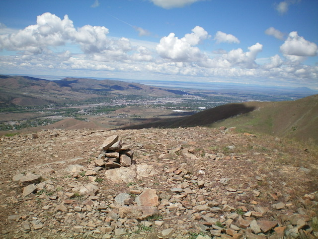 The summit area of Peak 6361 with the City of Pocatello in the distance. Livingston Douglas Photo