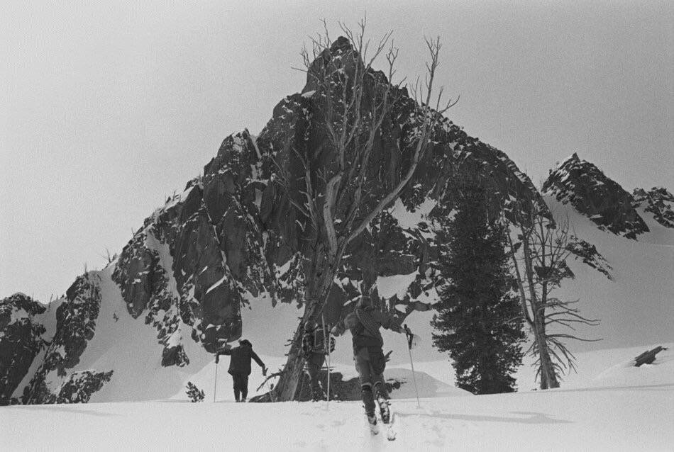 Skiing up from Camp II the morning of March 19, 1973. A cloudy dawn turned into a fine day.