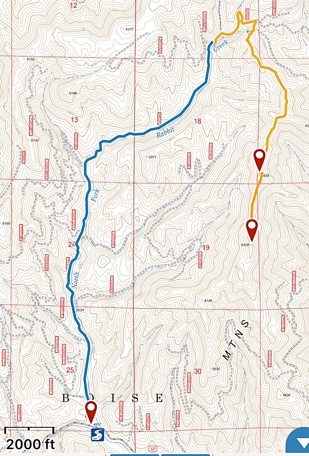 I followed Erik's route in 2018. The blue line is FS-322. The gold line is the trail. Stats: 5.4 miles 1,030 feet of elevation gain round trip.