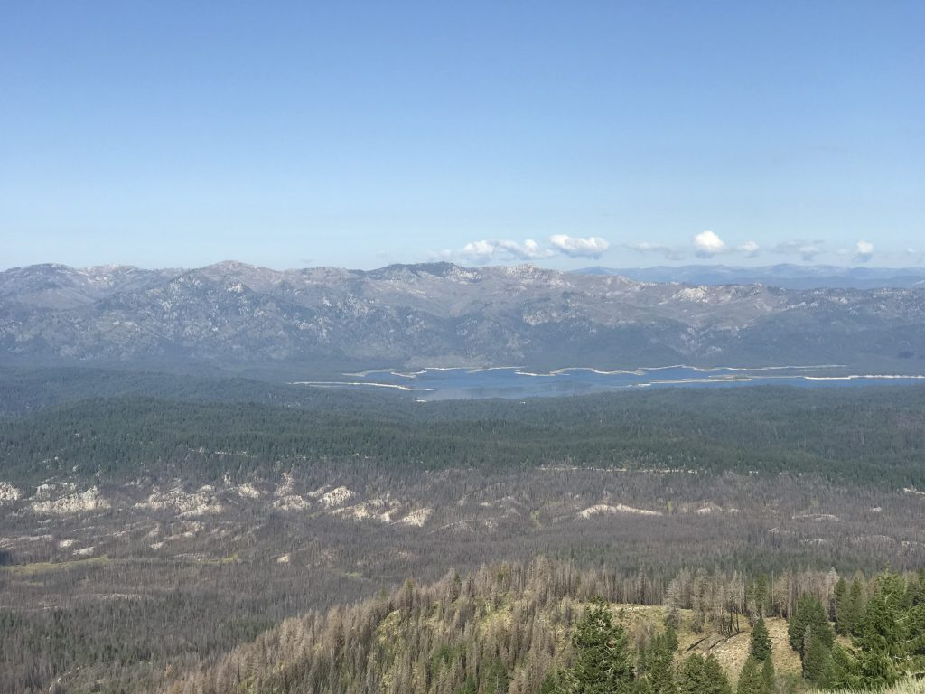 Deadwood Reservoir and Deadwood Ridge from the lookout.