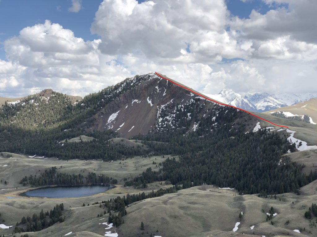Spring Hill with the ridge route in red. Derek Percoski Photo