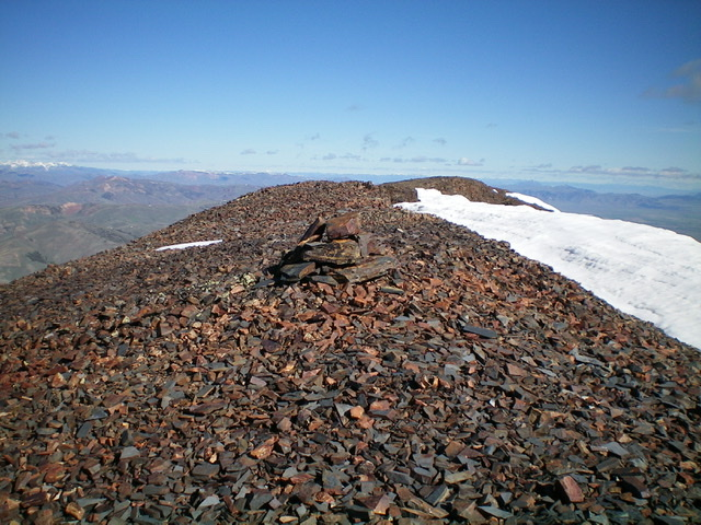 The summit cairn and narrow ridge crest atop North Cabin Mountain, looking north. Livingston Douglas Photo