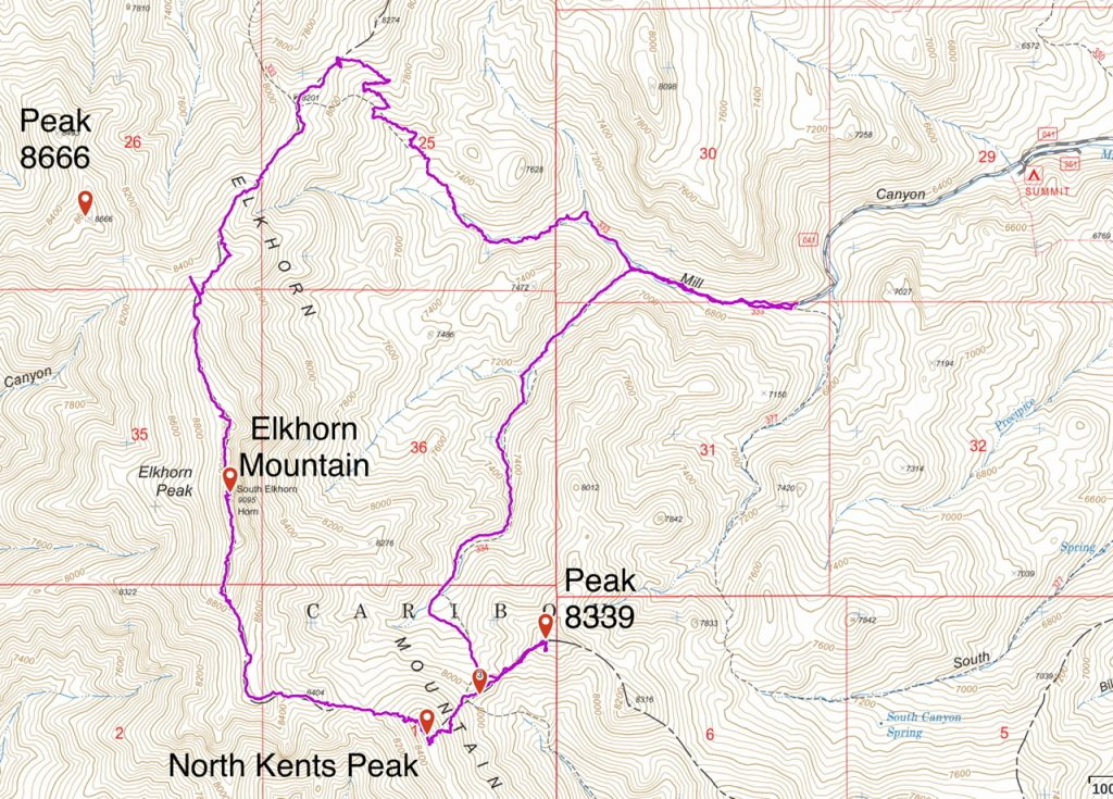 My GPS track for the loop hike plus Peak 8339. This route covered 9.8 miles and 3,020 feet of ascent.