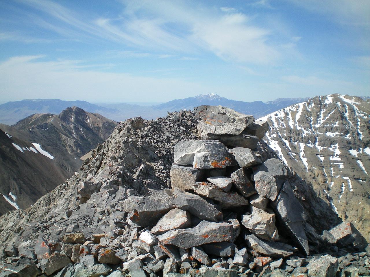 The summit cairn atop Black and White Peak. Livingston Douglas Photo