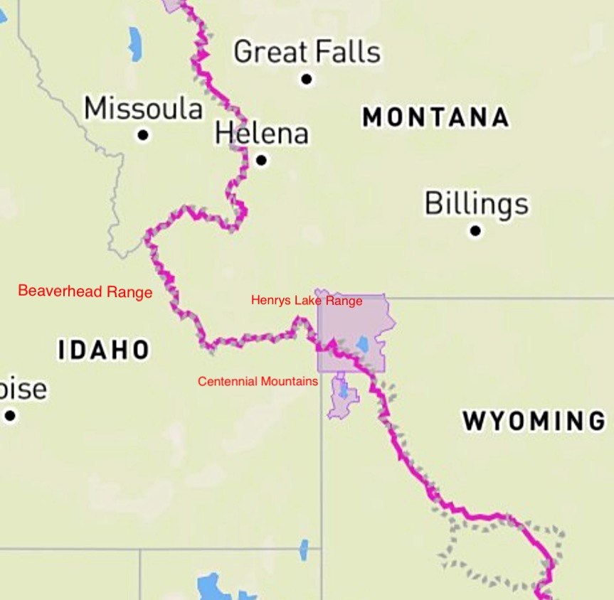 The Continental Divide Trail (CDT) straddles the Idaho Montana border for roughly 180 miles. The trail leaves Yellowstone National Park and travels generally westward through the Henrys Lake Range and then the Centennial Mountains to Monida Pass and I-90. From the pass the trail heads west and then north through the Beaverhead Range.