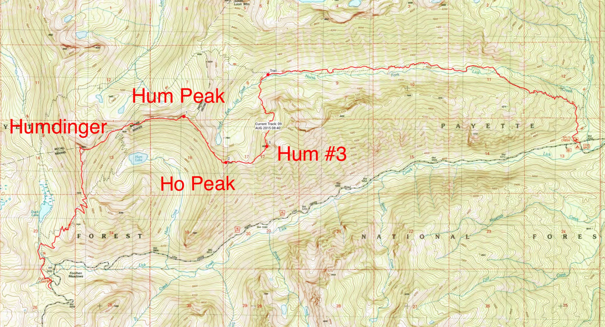 The GPS track for John Platt and John Fadgen's 2015 traverse of four of the six Hum Ridge peaks. Their route covered 15 miles with 4,700 of gain and even more elevation loss.