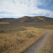 Peak 5578 (summit is left of center) and its northeast ridge (coming at the camera), as viewed from the 2-track BLM road that reaches a field near its base. Livingston Douglas Photo