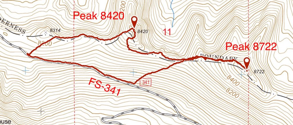 My GPS track for Peak's 8420 and 8722.