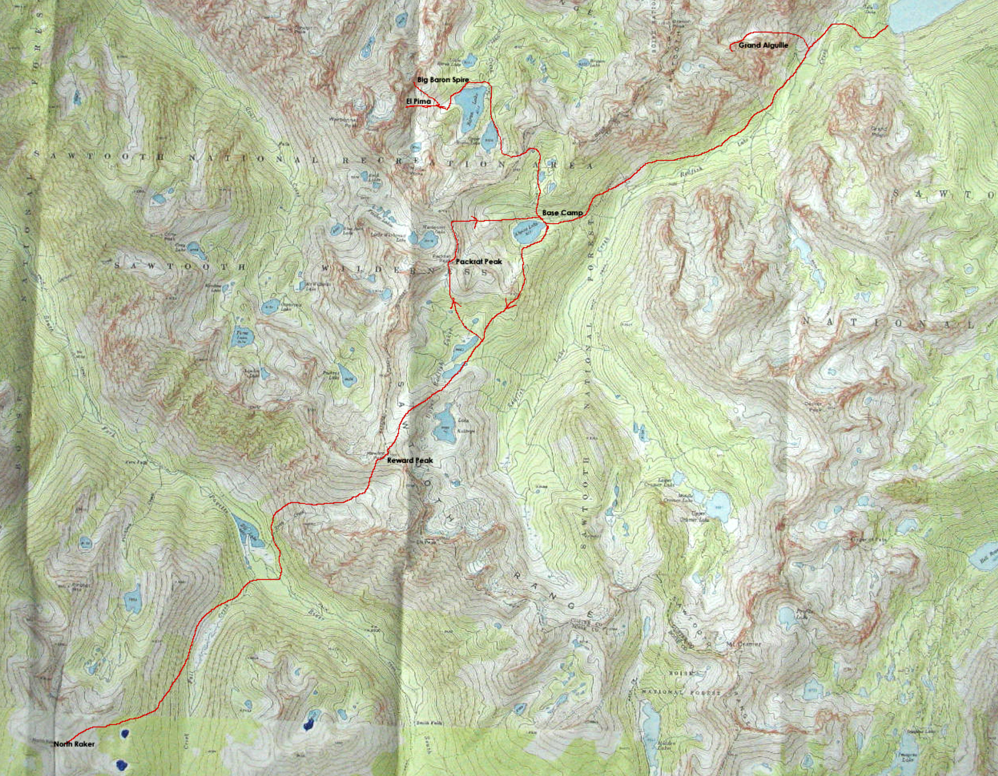Map of the Sawtooth adventure area with routes taken marked in red.