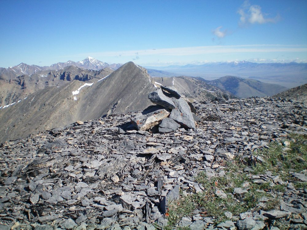 The newly-built summit cairn atop Mount Hoopes with Tyler Peak in the background. Livingston Douglas Photo