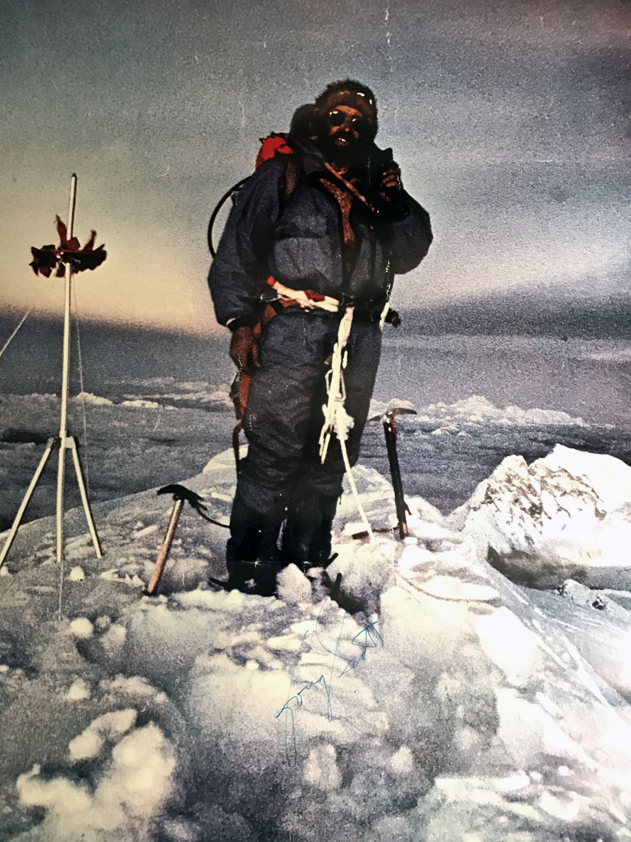 During one of Doug Scott's lectures at Sawtooth Mountaineering Bob Boyles secured a signed copy of the famous climber's posters