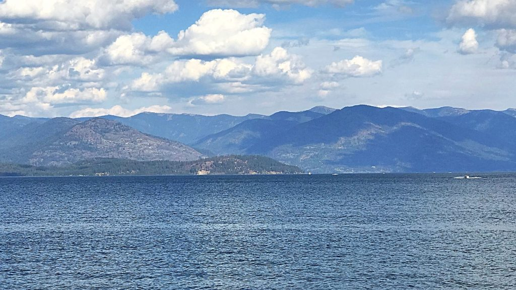 The Cabinet Mountains viewed from Sandpoint across Lake Pend Oreille.