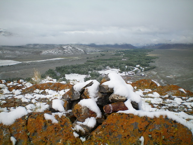Winter in mid-June? Fresh snow covers the summit rocks of Peak 6869, looking up the Big Lost River Valley. Livingston Douglas Photo