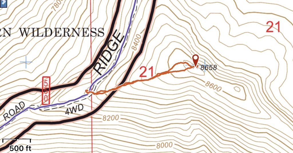 My GPS track for the southwest ridge. This route covered 0.8 miles with 300 feet of gain round trip.