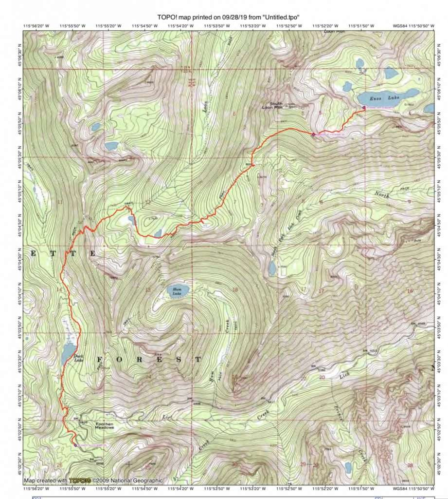John Platt's GPS track from the Duck Lake Trailhead to Enos Lake. The route covered 7.9 miles with 3,250 of elevation gain.