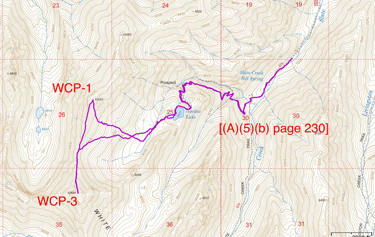 Brett Sergenian's GPS track for WCP-1 and WCP-3. Brett recorded 8.0 miles round trip ith 3,850 feet of gain.